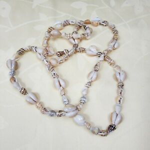 Cowrie & Momi Shell Beaded Statement Necklace Fashion Hawaii Jewelry