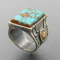 Antique Women Silver Turquoise Gemstone Wedding Engagement Ring Jewelry Size6-12
