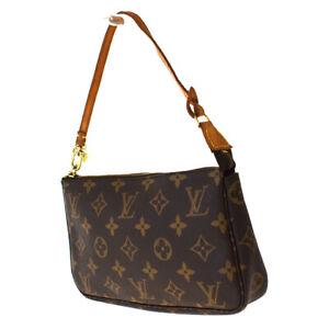 Auth Louis Vuitton Pochette Accessoires Hand Bag Monogram Leather M51980 37SB525