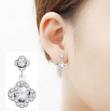 Four Leaf Clover Flower Rhodium plated Sterling Silver Stud Earrings CZ Pave K47