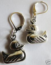 'RUBBER DUCK' SILVER TONE EARRINGS FOR PIERCED EARS