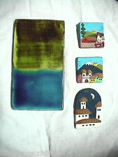 Piastrella Ceramica MARSIA + tre piastrelline con paesaggi da appendere al muro