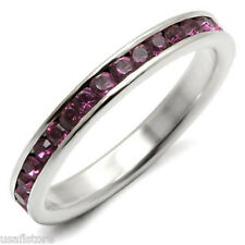 Amethyst Purple Stones .925 Sterling Silver Eternity Ladies Ring Size 8