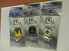 "Vancouver Canucks 40th Anniversary 2010 Jersey Pin "" White / Black / Yellow """
