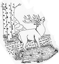 Unmounted Rubber Stamps, Wildlife, Mountain Scene, Scenic Stamps, Elk by Pond