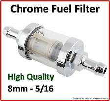 Universal 8mm 5/16 CHROME & Glass Inline Filtro Carburante-Benzina & Diesel