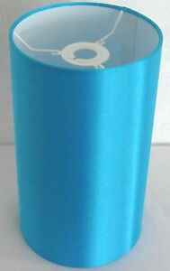 Hand Made Turquoise Satin Cylinder Lampshade With White PVC Inner