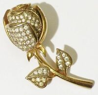 broche bijou vintage fleur la rose couleur or toute de cristaux diamant 4516