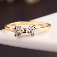 Wedding Fashion Women Charming Lady Elegant Ring Bow Jewelry 18K Gold Plated