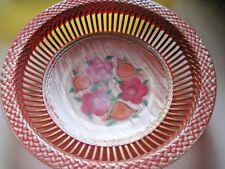 Vintage Nevco British Hong Kong Plastic Decorative Tray Fruit Basket FlowerPrint