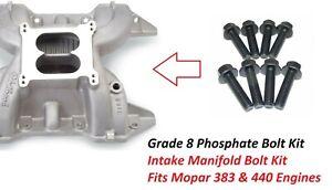 Mopar 383 440 Intake Manifold Bolts 8 pcSet Aluminum Cast Intake Manifold Bolts