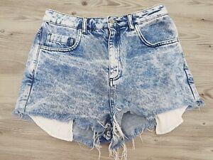Vintage Topshop Denim Hotpants Size 10 Washed Faded Fringe Festival