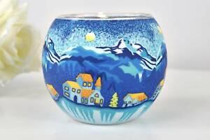 Kerzenfarm Leuchtglas 21805 Mountain Winternight Teelicht Windlicht Kerzenhalter
