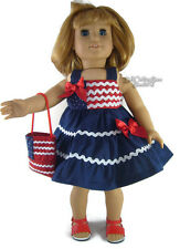"""For 18"""" American Girl Doll Clothes Navy Patriotic Tiered Dress & Purse"""