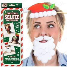 10Pc CHRISTMAS SELFIE PHOTO BOOTH PROPS Festive Santa Elf Party Fun Disguise Set