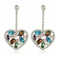 925 Sterling Silver Multicolor Heart Dangling Earrings with Cz Stones