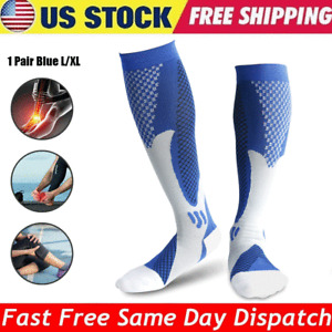 1 Pair Compression Socks Graduated Pain Relief Calf Leg Foot Support Blue X/XL