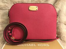 NWT MICHAEL KORS SAFFIANO LEATHER CINDY LARGE DOME CROSSBODY BAG IN RASPBERRY