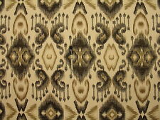 Contemporary Modern Ikat  Geometric Gray Vanilla Tan Upholstery Fabric