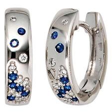 Damen Creolen 585 Gold Weißgold 18 Diamanten Brillanten 14 Saphire Ohrringe.