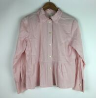 J.Jill  Women's Size Small Pink Pintuck Pleated Blouse Long Sleeves Button Front