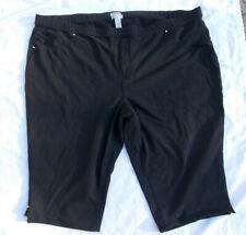 "Catherine's 5X 34/36W Pull-On Jeans 56"" w Black Capri Crop Pants Elastic Stretch"