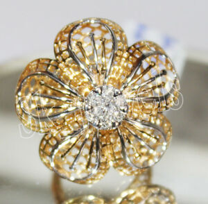 0.22ctw NATURAL ROUND DIAMOND 14K SOLID YELLOW GOLD COCKTAIL RING IN SIZE 7 TO 9