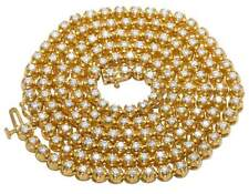 Mens 10K Yellow Gold Genuine Diamond One Row Tennis Prong Chain Necklace 6Ct 3MM