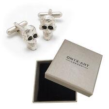 Mens Silver Skull Halloween Skeleton Cufflinks & Gift Box By Onyx Art