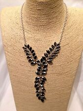 Womens STATEMENT Long Silver Black Crystal Chain Bib Collar Necklace Vintage UK