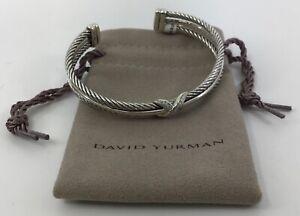 Authentic David Yurman Sterling Silver Diamond X Cable Crossover Cuff Bracelet