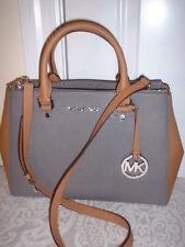 NWT Michael Kors Sutton Medium Satchel Handbag Shoulder Bag Steel Grey Acorn