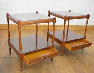Antique style pair of bedside 2 tier tables / side lamp tables