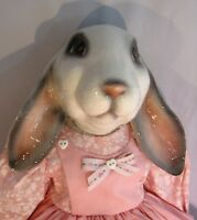Ceramic Bunny EASTER gingham Pink Dress Hand Painted Soft Body 20 T Rabbit