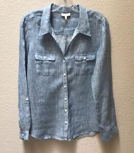 Joie Linen Blouse Blue White Striped Button Down Blouse Women's Size Small