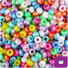 1000 Mixed Pearl 7mm Mini Barrel Plastic Pony Beads Made in the USA