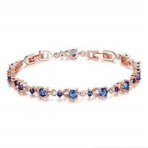 Fashion Exquisite Blue Round Zircon Rose Gold Bracelet Jewelry Birthday Gift