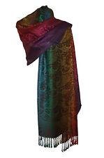 ETOLE Echarpe - Pashmina et soie - motif cachemire & fleurs - Marron multicolore