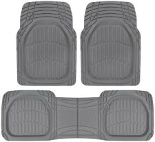 All Weather Deep Dish Heavy Duty Rubber Car Floor Mats 3pc Front Rear Gray