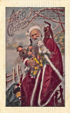 Christmas Santa Claus Red Robed Black Cat Toys Poem Postcard