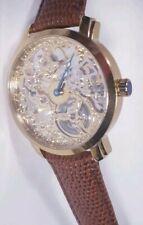 Men Akribos Xxiv Watch Ak406yg Bravura Davinci Automatic Skeleton Gold Case New
