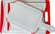 CC Boards 3-Piece Nonslip Cutting Board Set with Paddle: Red and white plastic