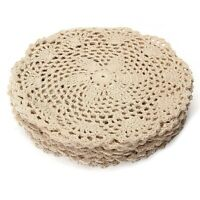 12Pcs Vintage Cotton Mat Round Hand Crocheted Lace Doilies Flower Coasters Lot