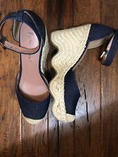 BCBG Max Azria Denim Closed Toe Wedge Ankle Strap Shoes Size 9.5 39.5 Espadrille