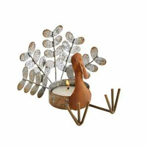 Tin and Wood Thanksgiving Turkey Tealight Candle Holder