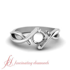 White Gold Infinity Twist Solitaire Engagement Ring Without Center Diamond