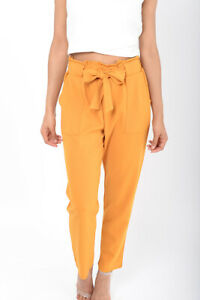 Womens Peg Trousers Mustard High Waisted Belted Smart Casual Ladies Pants