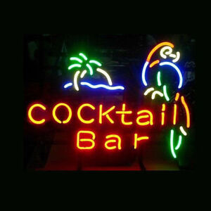 "17""x14""Cocktail Bar Papagei Neon Sign Bier Kneipe Bistro Wandbehang Neonreklame"