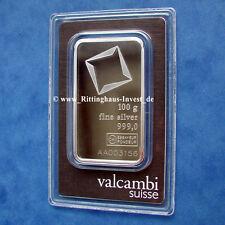 Lingot d'argent 100 Grammes Valcambi 999 Fine Argent 100 g silverbar 100 g