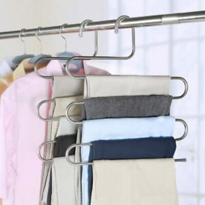 5 layers S Shape Clothes Hangers Cloth Rack Multilayer Storage Cloth Hanger 1PC
